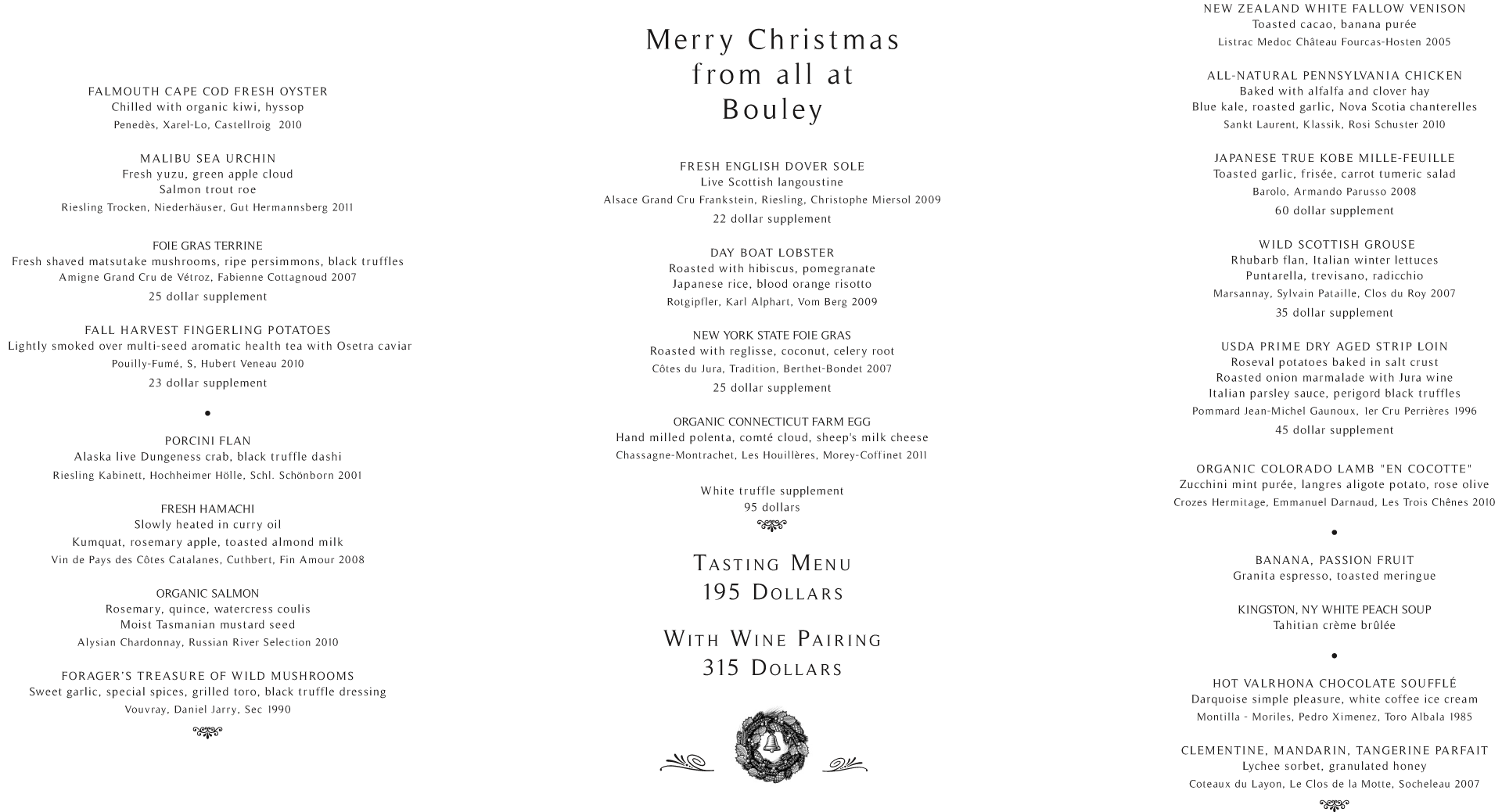 Bouley Restaurant Holiday 2016 Info & Reservations