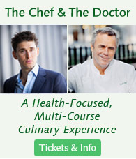 The Chef and the Doctor Series at Bouley Test Kitchen. (Chef David Bouley is pictured with Ben Greenfield, athlete, author, fitness coach and nutritionist)